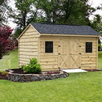 10x14 Quaker with Heritage Siding, Charcoal Grey Shingles,Heritage Siding, Arch Door, Aluminum Ridge Vent