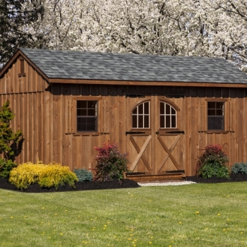 10x18 Quaker Charcoal Grey Shingles, Mushroom Stain, Carriage Door, Vents