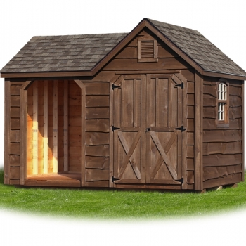 8x12 Woodshed with Heritage Siding, Weatherwood Shingles, Heritage Siding, Mushroom Stain, Small Arch Top Window, Vents