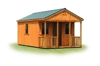 12x20 A-Frame Cabin 4' Porch, Metal Roof, Cedartone Stain, Vents