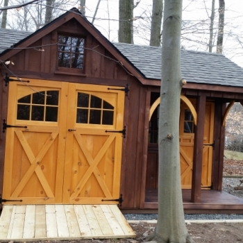 12x16 Cape Cod Board and Baton Stain option Upgrade to Carriage Doors Ramp Porch option extra door Arch Braces