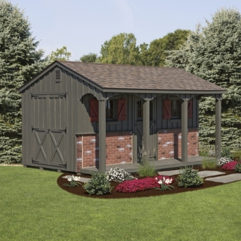 Heritage 12x16 A-Frame Board-n-Batton Garden Vents Porch Option 4 Post Arch Openings 1 extra Carriage Door Vinyl Stone Front