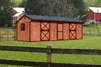 10x28 Horse Barn, Charcoal Grey Shingles, Rustic Cedar Stain, Red Trim