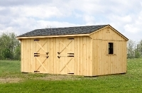 12x20 2 Stall Barn, Charcoal Grey Shingles