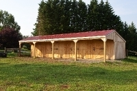 12x48 Horse Barn With 8' Hinged Lean To, Red metal Roof