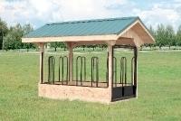 6x10 Hay Feeder, Green Metal Roof