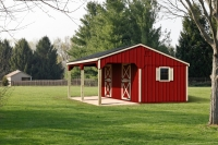 10' x 24' Two Stall Horse Barn Red