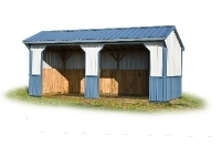 10x20 Run-in Shed Blue & White Metal