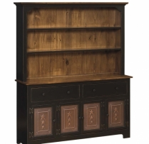 IE-309-T-O 4 Door Hutch with Tin 60wx16dx73h