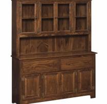 IE-309-W-G 4 Door Hutch with Wood with Glass Door 60wx16dx73h