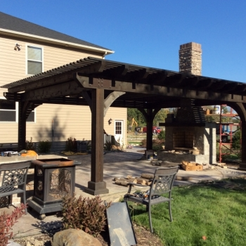 18x22 Kingston Pergola, Cinder Stain