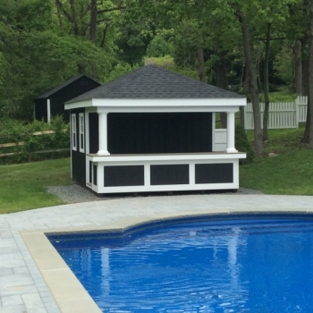 12x16 Siesta with t-1-11 siding and royal trim bar front