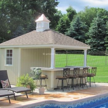 "10x12 Siesta with T-1-11 siding, U shaped bar, 18"" hilton concave copper top coupola"