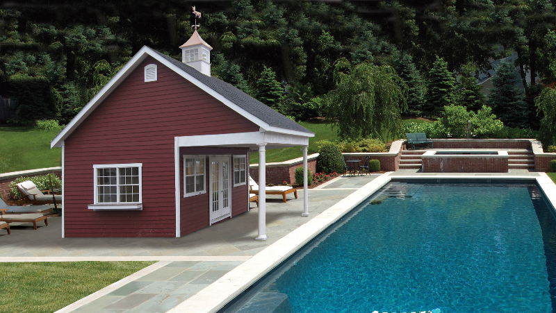 Livingston pool houses amish mike amish sheds amish for Custom pool house