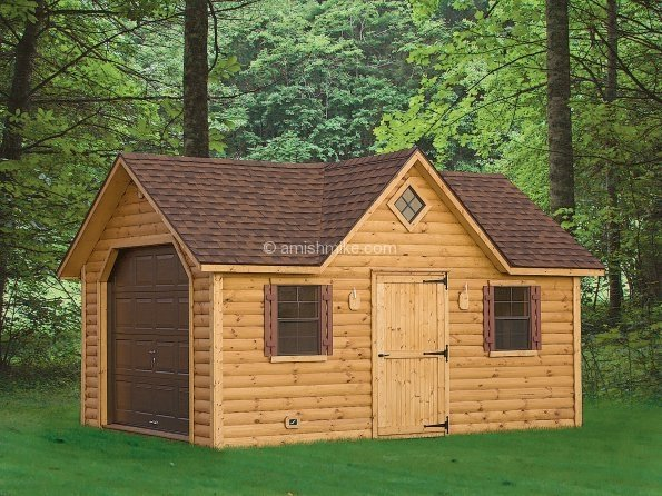 Log cabin heritage sheds amish mike amish sheds amish for Log cabin garage