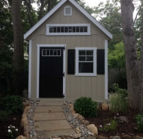 10 x 12 with optional garden vents dd transom in gable, window trim and shutter combo.