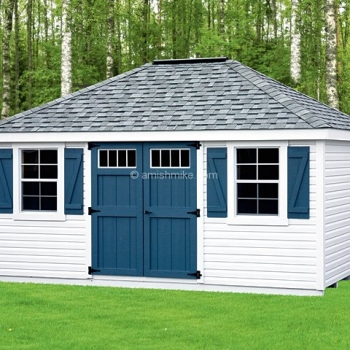 12' x 16' New England Vinyl Deluxe Hip Roof Shed