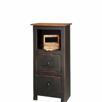 HB-22-A-2 4' Narrow Bookcase with 2 Drawers 22wx47hx14d