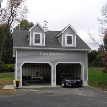 2 story 2 car gray garage