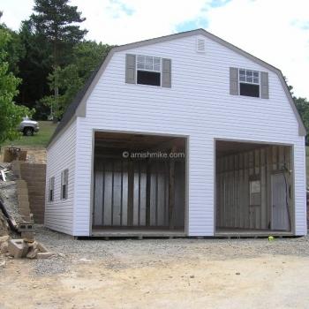 2 story white garage