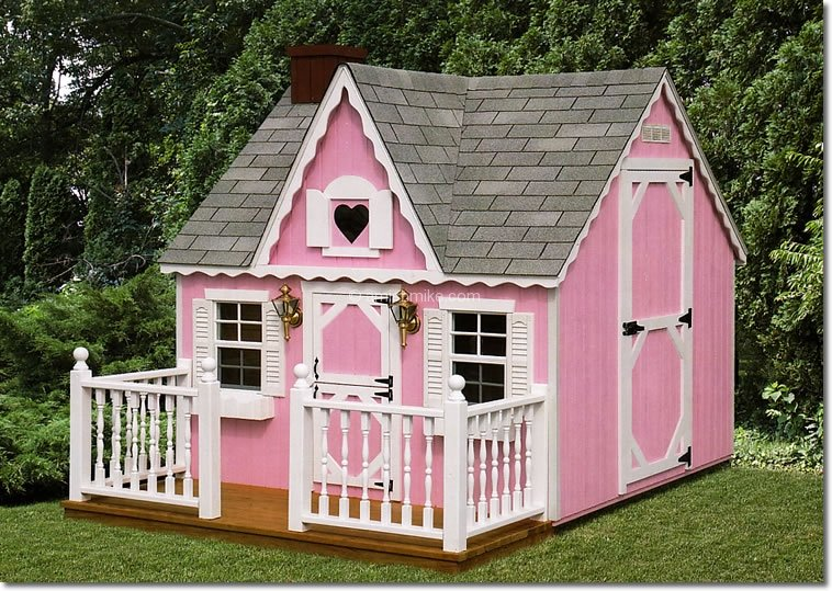 Victorian Backyard Playhouse : Victorian Playhouse  Pink  Heart window  Coach lamps