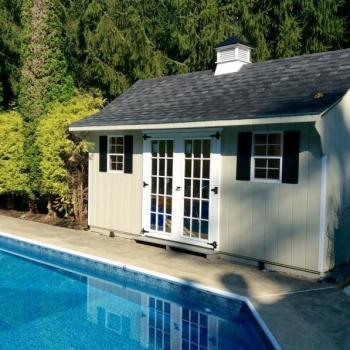 10x16-Traditional-Poolside Black top Cupola and 15 Lite Doors Vinyl siding