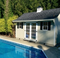 10x16-Traditional-Poolside Black top Cupola and 15 Lite Doors Vinyl siding