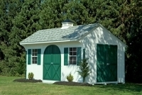 10x14 Traditional Quaker with Round Top Doors and Extra set of Double Doors with Cupola