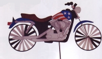 Motorcycle with Flag Spinner