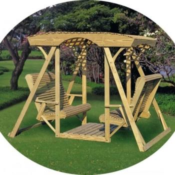 JWC- Rollback Double Lawn Swing w/ Lattice Roof