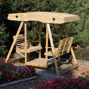 17086-WLS 261 dbl lawn swing wood-hearts
