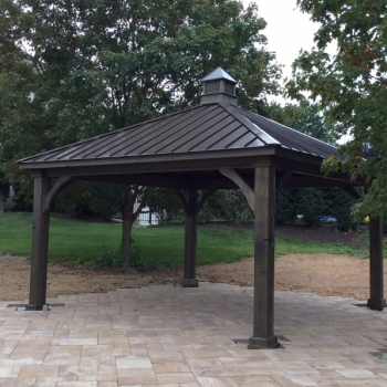 14x14 Trad wood pav. Cinder Stain, 8x8 posts, Bronze Standing Seam Metal, Cupola