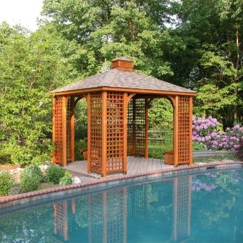 10' x 12' Traditional Wood Pavilion Lattice Corners