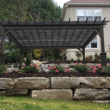 16x16 Traditional wood pergola, Superior Posts, Cinder Stain