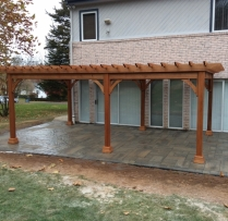 12x20 Traditional wood pergola with custom rafter tails