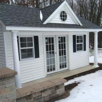 12x16 Victorian Pool House with Vinyl Siding Insulated Windows Pre-Hung Doors Upgraded 15 Lite Doors Pewter Gray Shingles