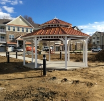 18' Octagon Vinyl Gazebo, Copper Penny Standing Seam Metal Roof